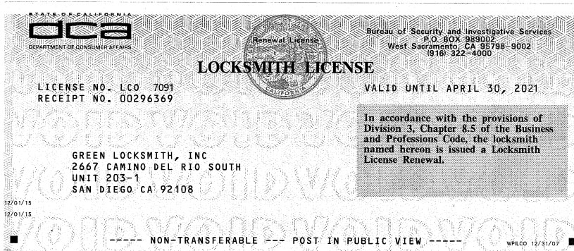 Our Locksmith License